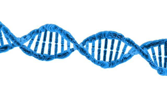 modrá molekula DNA