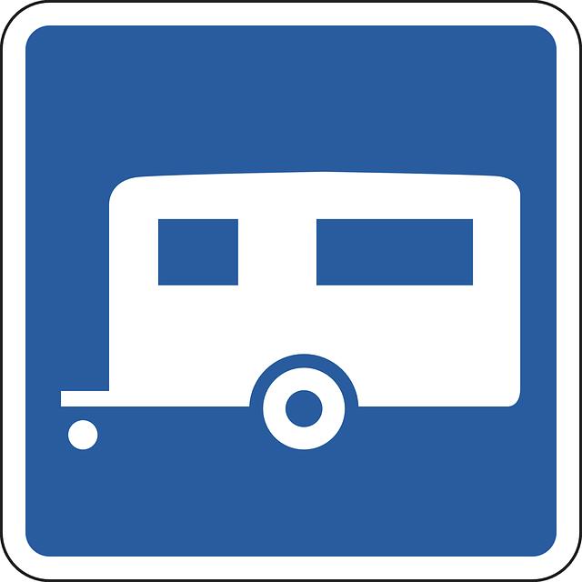 přívěs – modrobílý piktogram